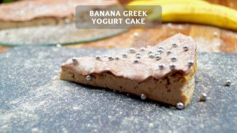 Banana Greek yogurt Cake with Chocolate Glaze - Protein Cake Recipe