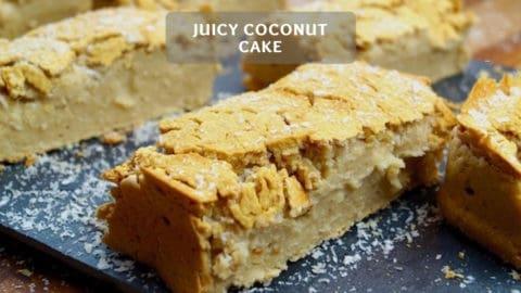 Juicy coconut cake - Light healthy coconut cake