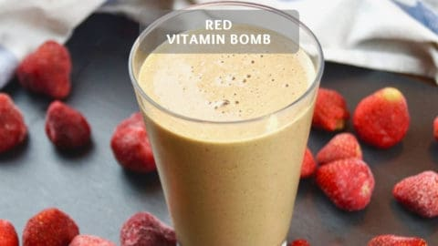 Strawberry Protein Smoothie Recipe - Red Vitamin Bomb