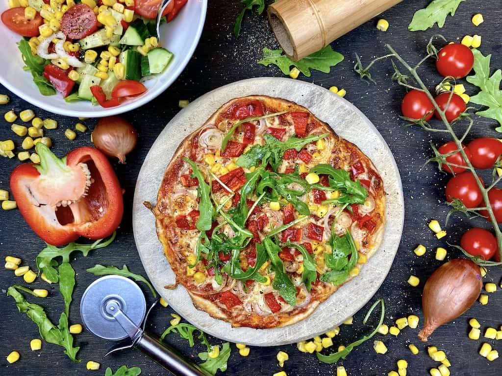 Vegetarian Pizza out of a pan